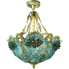 Lovely Bohemian Glass Fruit and Flower Bowl Chandelier Circa 1920-30 Original vintage chandelier, with original vintage glassware. This beautiful