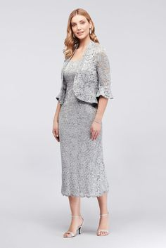 This infinitely elegant tank dress is crafted of stretchy sequin lace, ensuring that you look fabulous and feel comfortable. A peplum hem and bell sleeves give the matching jacket a modern vibe. Plus Size Cocktail Dresses, Plus Size Gowns, Two Piece Gown, Event Dresses, Bride Dresses, Wedding Dresses, A Line Gown, Lace Sheath Dress, Groom Dress