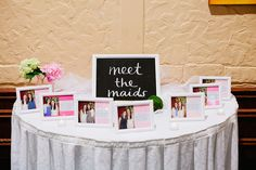 Meet the maids table with a brief story about how they bride her maid became friends. Abby Zach's Wedding at the Ruthe Jackson Center in Grand Prairie - Kelly Rucker Photography