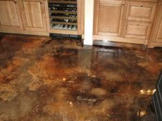 wood kitchen cabinets  stained concrete floors | 20 Photos of the How to Stain Concrete Floors