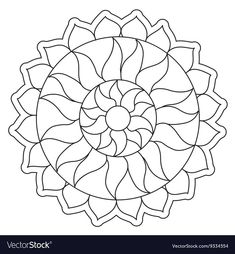 Easy Mandala Drawing, Mandalas Drawing, Mandala Coloring Pages, Animal Coloring Pages, Coloring Pages To Print, Adult Coloring, Coloring Books, Sun Mandala, Simple Mandala
