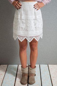 Lace mini skirt lace a line skirt white lace by LeMoutonBleuShop