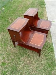 Lovely Set Of Duncan Phyfe Mid Century End Tables, In Mahogany With Leather Tops.  The