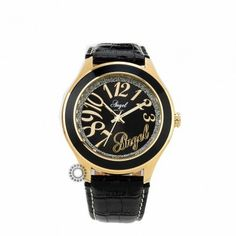 Γυναικείο ρολόι quartz ANGEL με μαύρο καντράν και μαύρο λουρί. Εγγύηση 2 ετών της επίσημης αντιπροσωπείας #angel #μαυρο #δερμα #γυναικειο #ρολοι Black Gold, Black Leather, Angel, Watches, Accessories, Angels, Clocks, Clock, Ornament