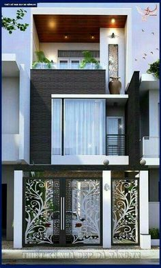 Small home design… House Front Design, Small House Design, Modern House Design, Gate Design, Door Design, Modern Exterior, Exterior Design, Narrow House, House Elevation