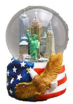 New York City Skyline Snow Globe with Hand Painted USA Flag, and Bald Eagle Engraved Base Sculpture by Zizo