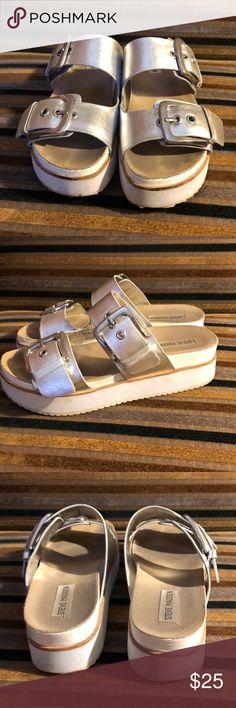 Steve Madden sliver sandals Steve Madden size 8 platform sandals worn several times Steve Madden Shoes Sandals