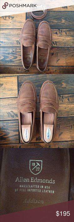 Allen Edmonds brown loafers and belt Brown leather penny loafers and matching leather belt. Both are lightly worn but in great condition. Shoes and belt can be sold separately; just message me with an offer. The price listed is for the set. Allen Edmonds Shoes Loafers & Slip-Ons