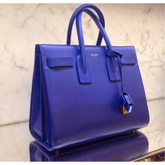 SAINT LAURENT Sac De Jour Bag in Blue Leather - SPENTMYDOLLARS | Fashion Trends, Shoes, Bags, Accessories for Men & Women