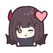 Cute Anime Chibi, Kawaii Anime Girl, Anime Love, Mystic Messenger Christmas, Kawaii Chan, Demon Girl, Girls Characters, Line Sticker, Anime Artwork