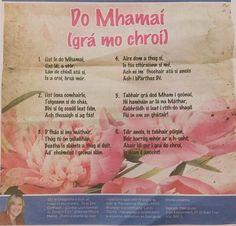 Lá na Máithreacha sona duit! Mothers Day Crafts, Happy Mothers Day, Gaelic Words, 6 Class, Irish Language, Preschool Crafts, Languages, Verses, Scotland