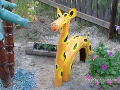 Crafts made of tires with their hands - Giraffe