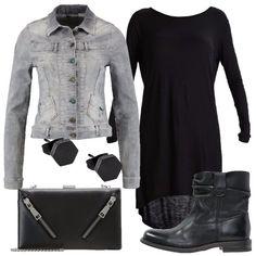 Giacca di jeans corta con chiusura a bottoni, vestito in maglina asimmetrico che lascia la schiena scoperta, stivaletto in pelle con tacco largo, clutch con chiusura a gancio e orecchini in acciaio.