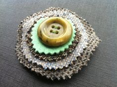 Tweed brooch with Vintage Button £4.75