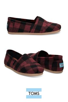 Red Black Plaid Men's Classics from TOMS. These soft wool slip-on shoes are super comfortable.