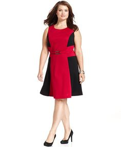 Style Plus Size Dress, Sleeveless Colorblocked A-Line - Plus Size Dresses - Plus Sizes - Macy's