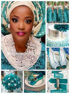 Nigerian wedding teal & cream wedding color scheme.jpg