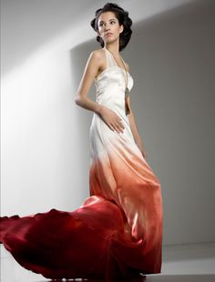 Ombre Silk Wedding Dress, Gradient Artistic Bridal Dress, Dip Dyed Wedding…