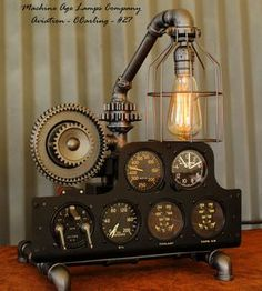 Steampunk Industrial Antique WWII P-38 Aviation Instrument Control panel Lamp (Ready to Ship)
