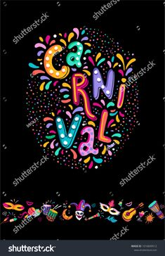 Bright multicolor vector illustration. Set icons for Carnival decorate. Includes handwritten text. Carnival and celebratory subjects, masks, musical instruments, fireworks, drinks, confetti. Carnival Fashion, Carnival Inspiration, Handwritten Text, Health Fair, Mardi Gras Party, Doodle Designs, Love Art, Musical Instruments, Fireworks