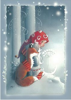 Fox in the snow Illustration Noel, Winter Illustration, Christmas Illustration, Illustrations, Noel Christmas, Vintage Christmas, David The Gnome, Artists For Kids, Christmas Drawing