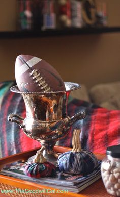 Champagne Chiller decor during football season. #Goodwill #repurpose #thrift #decor