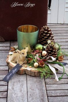 """Christmas Decorations :::: Advent Decor """"Forest Air"""" :::: – a unique product by BlumereiBerger on DaWanda - All About Gardens Christmas Flowers, Natural Christmas, Christmas Candle, Christmas Makes, Christmas Centerpieces, Rustic Christmas, Xmas Decorations, Christmas Home, Christmas Wreaths"""