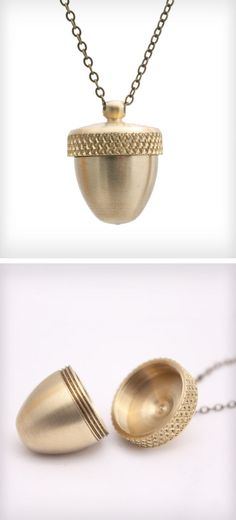 Acorn Canister Locket Necklace. For the roommate.... <3