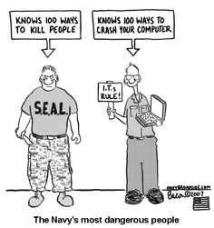 Navy's most dangerous people. This one goes out to all my IT buddy's!
