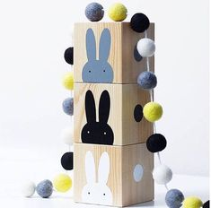Wooden Rabbit Play Cubes