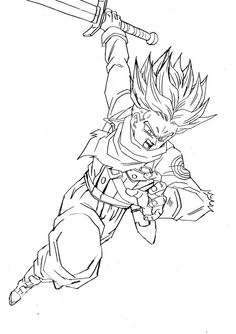 SSJ Trunks Line Drawing, Drawing Sketches, Dragon Ball Z, Fred, Drawing Reference Poses, Character Art, Coloring Pages, Naruto Eyes, Woodburning