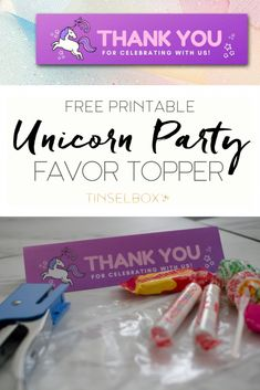 Our printable unicorn party favor topper is THE easiest way to make unicorn themed party favors. Simply choose your treat bag filler, print, cut & staple! Unicorn Printables, Party Printables, Kids Party Themes, Party Ideas, Unicorn Invitations, Party Favor Bags, Holidays With Kids, Inspiration For Kids, Unicorn Party