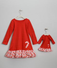 Red Candy Cane Dress with Matching Doll Dress $79.00 | 4Ever Princess USA Dressing up with your Doll has never been so stylish and fun! #Thanksgiving #Christmas #XMAS #Holiday #PartyDress #Kids #KidFashion #KidsClothes #Hanukkah #Chanukah #Blue #White #Red