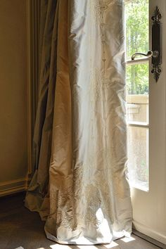 Luxurious embroidered silk drapes. Drapery panels by Kara Childress.