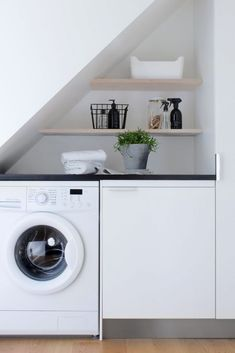 24 Laundry Room Ideas, Worry-freeing Your Irking Chore - Small laundry room design is about creating functional small spaces where chores do not get procras - Laundry Nook, Small Laundry Rooms, Laundry Closet, Laundry Room Organization, Laundry In Bathroom, Small Rooms, Small Spaces, Ikea Laundry Room, Laundry Organizer