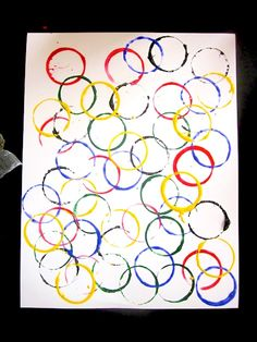 "DIY Olympic Rings ""painting"" -- super simple, but very cool."