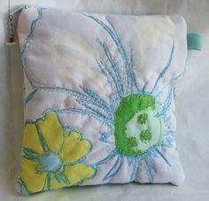 Free Motion Fabric Flower Pouch by robenmarie