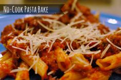 No-Cook Pasta Bake - Just four ingredients, assemble, bake and serve.