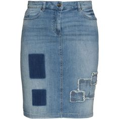 Frapp Blue Plus Size Patchwork denim skirt ($97) ❤ liked on Polyvore featuring skirts, blue, plus size, denim skirt, womens plus size skirts, plus size denim skirt, summer skirts and plus size pencil skirt