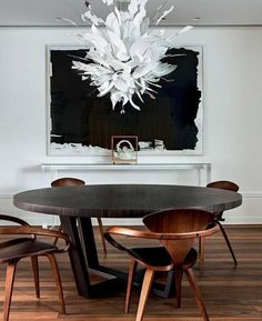 Modern Dining Room Design Ideas - If filling areas with the most up to date fads in house decoration is your idea of fun, after that decorating a dining-room resembles a journey to the theme park. Contemporary Chandelier, Contemporary Decor, Modern Decor, Minimal Decor, Modern Art, Modern Rustic, Dining Room Inspiration, Interior Design Inspiration, Design Ideas