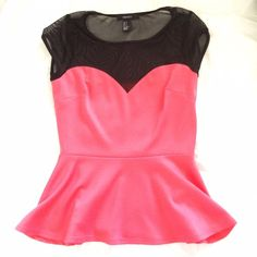 Bright coral hot pink sweet heart mesh peplum top Bet hot and sexy good for a night out ootn clubbing party or date to the movies Forever 21 Tops Blouses