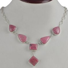 LATEST DESIGN 925 STERLING SILVER FANCY RHODONITE NEW NECKLACE 36.08g NK0051 #Handmade #NECKLACE