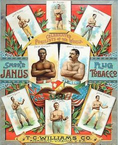 Lithographic poster, produced during the late 1880s in promotion of Janus Plug Tobacco, features full-color images of the top pugilists of the day. Heavyweight champion John L. Sullivan shares top billing in the center of piece with the Australian and British Commonwealth heavyweight title holder Peter Jackson. Photo from Robert Edwards Auctions.