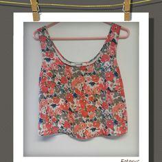 Forever 21 Crop Top Crop top with a floral design..with a floral lace design in back.  100% Polyester  Forever 21 Tops Crop Tops
