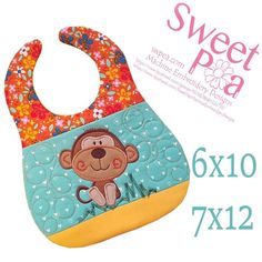 Monkey bib 6x10 and 7x12in the hoop machine embroidery design | Sweet Pea