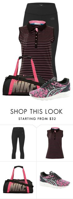 """Untitled #15362"" by nanette-253 ❤ liked on Polyvore featuring The North Face, Green Lamb, NIKE and Asics"