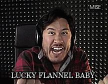 markiplier & his lucky flannel! I have a flannel like that just with a gray hood and some strings.
