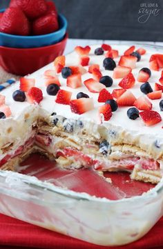 Strawberry and Blueberry Cheesecake Icebox Cake