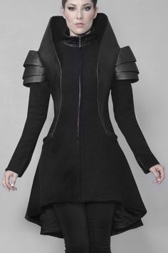 Leather Jackets, Vests, Coats, Designer Couture Artisan Hand-Made Fashion for Empowerment Dark Fashion, Modern Fashion, High Fashion, Fashion Show, Womens Fashion, Fashion Design, Fashion Trends, Gothic Fashion, Haute Couture Style