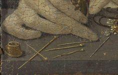 Detail Portrait Constanza Caetani, pins, sewing needle and open thimble, 1480-1490, National Gallery, London  https://fbcdn-sphotos-g-a.akamaihd.net/hphotos-ak-xaf1/v/t1.0-9/283860_458064614271779_1437169782_n.jpg?oh=c37a212b9285ae6207cf9a92a2e4e4ad&oe=54D247E4&__gda__=1426692661_9ec48935334dcaab4c825b7b57006aa8